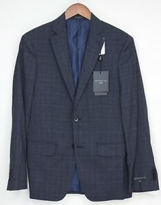 John-Varvatos-Luxe-Mens-Suit-38R-31W-Navy-Blue-Gray-Plaid-Wool-Silk-Blend-Jacket