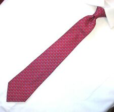 Thomas Pink blue airplane pink clouds pattern red silk tie made in Italy XL / 62