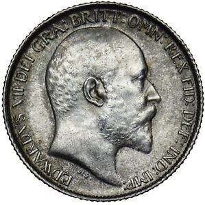 1910-Sixpence-Edward-VII-British-silver-coin-V-Nice