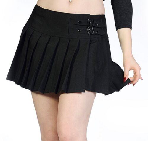 Interdits filles plissée plaine mini jupe courte gothique boucles 8 10 12 14 16 noir