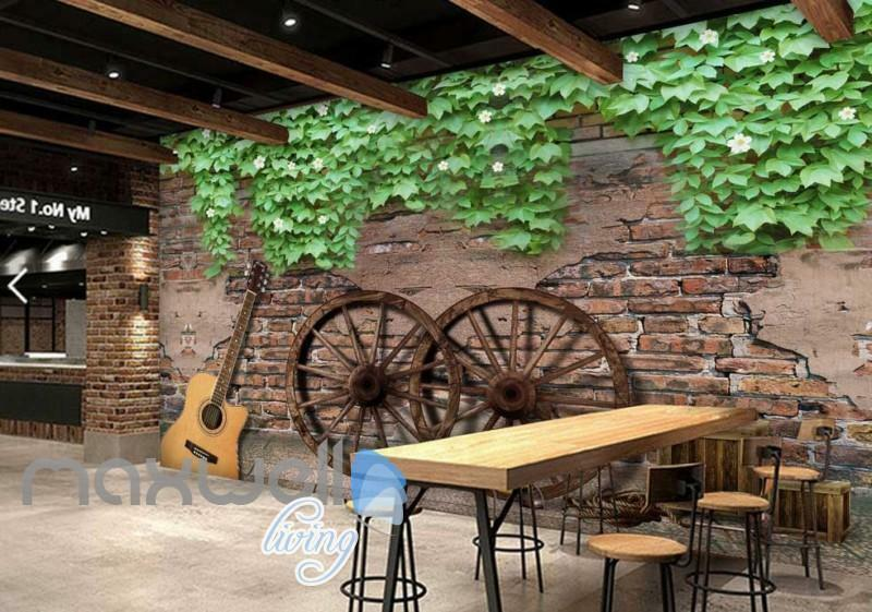 Graphic Art Design Of Old Wall With Guitar And Wooden Wheels Art Wall Murals Wal