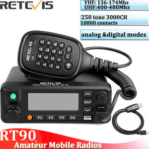 Retevis RT90 DMR 3000CH Dual Band Standby Display Digital 50W Mobile
