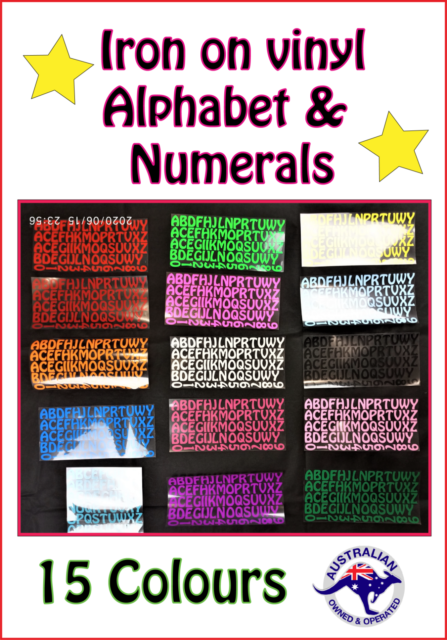 Iron on Letters & Numbers Transfer in Multiple Colours Alphabet A-Z Numeral 0-9