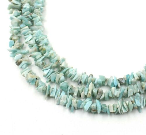 34/'/' Natural Blue Larimar Smooth Nugget Uncut Chips Gemstone Loose Beads AAA+