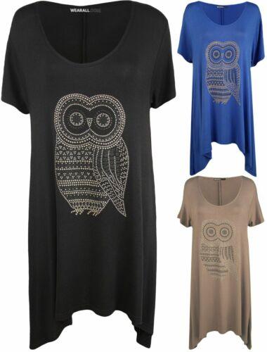 New Plus Size Womens Owl Diamante Stud Short Sleeve Ladies Hanky Hem Top 14-28