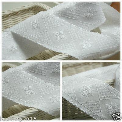 "14Yds Embroidery cotton eyelet lace trim 2.1""(5.5cm) white YH1309 laceking2013"