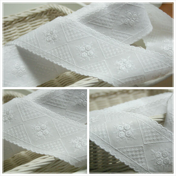 "14Yds Embroidery cotton eyelet lace trim 2.1""(5.5cm) white YH1309 laceking2013"