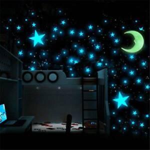 Pared 100x Brillan En La Oscuridad Luna Y Estrellas Pegatinas Niños Guardería Cama Habitación Techo Ebay
