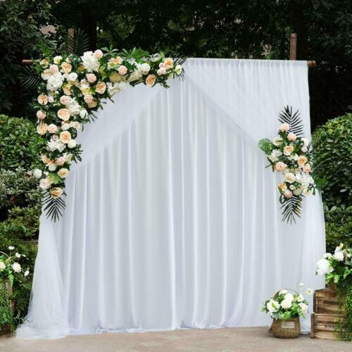 White Backdrop Curtain Ice Silk Drapes for Stage Wedding Studio Decor 150 GSM