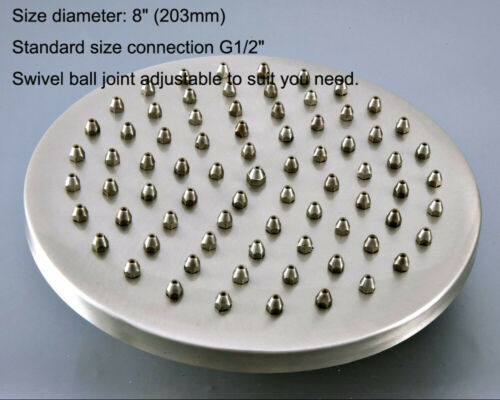 "8/"" inch Brushed Nickel Brass Round Rainfall Rain Bathroom Shower Head fsh273"