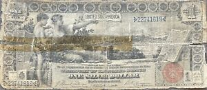 USA 1896 Banknote 1 Dollar Large Size Silver Certificate Schein US One #24290