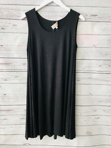 Joan-Vass-Black-Dress-Sleeveless-Swing-Tunic-Large-New-Knee-Length