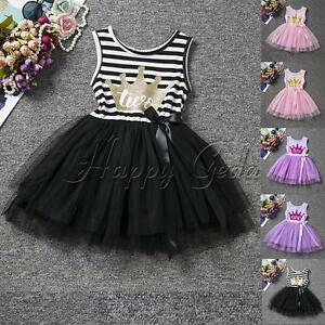 Striped-Toddler-Baby-Girls-Dress-1st-Crown-Princess-Birthday-Party-Tulle-Skirts