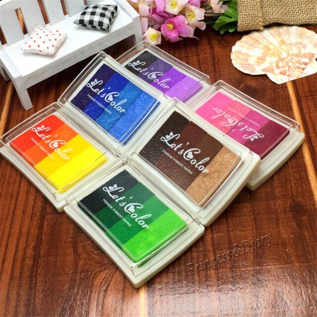 6pcs Rubber Stamp Ink Pads Oil Based Finger Painting Wood DIY Craft Scrapbooking