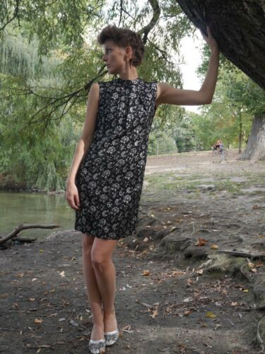 Droite Argent Soirée Robe Années Vintage Années True Robe Lurex 60 Noir De 60 Ddr S M Robe 1O6B6