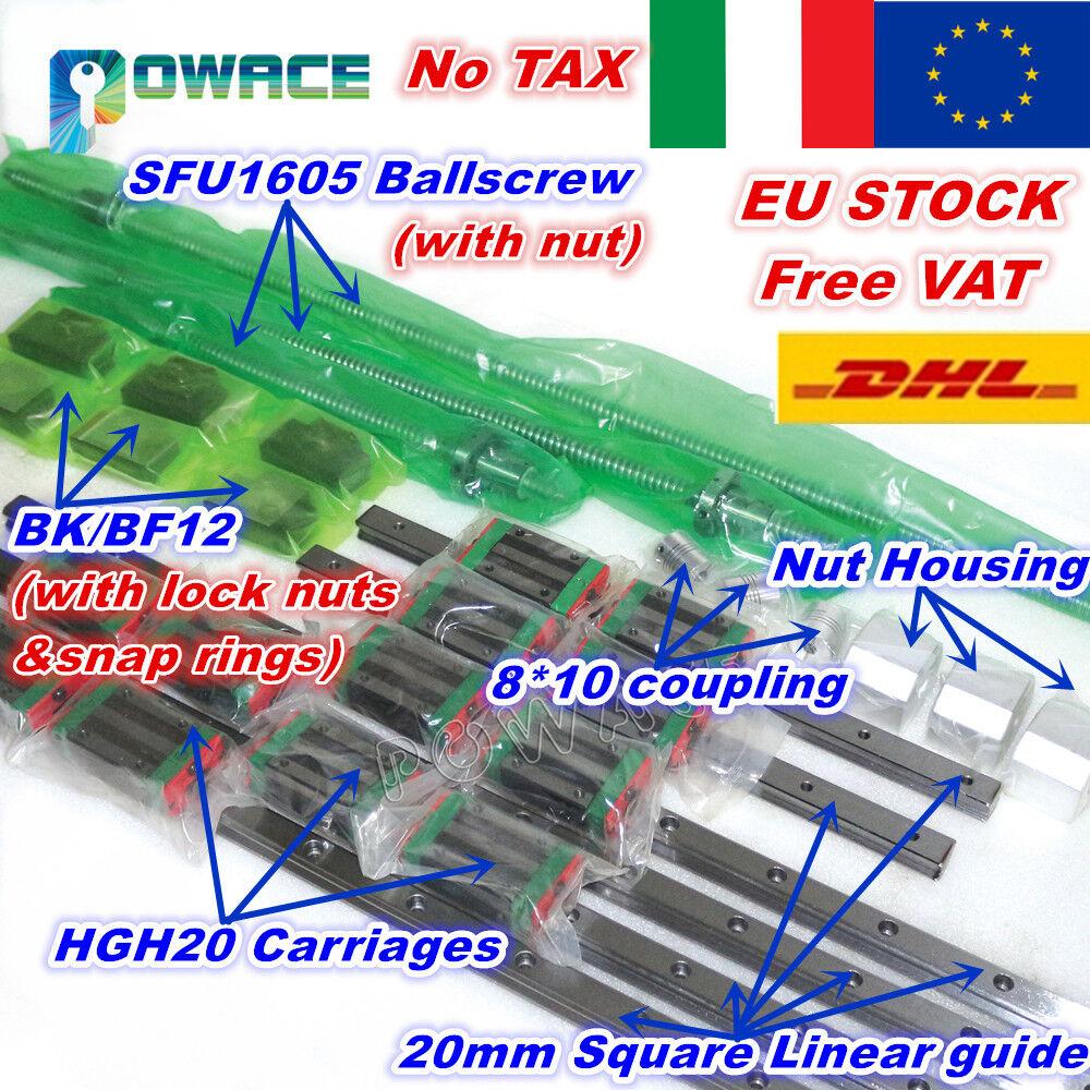 【ITALY】Square 20mm Linear Guide+SFU1605 400/700/1000mm Ballscrew&Nut+BK/BF12 CNC