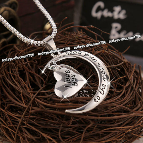 Love Heart Necklaces Silver Xmas Presents Gifts For Her Wife Mum Daughter Women