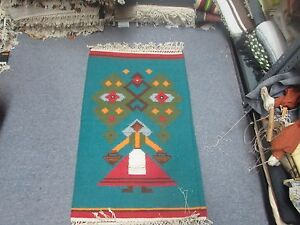 NWT NEW Russian Folk Art Kilim Hand Knotted Wool Tapestry 2'-10 x 1'-9 Teal