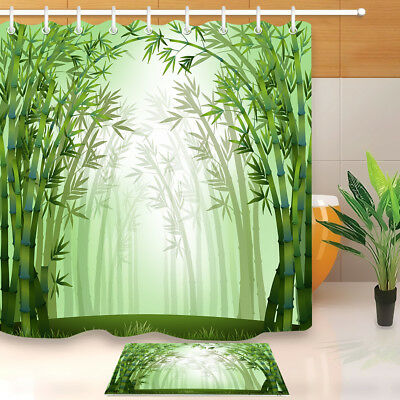 Dense Dried Bamboo Bathroom Shower Curtain Waterproof Fabric 71*71 inch /& Hooks