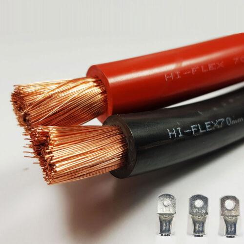 70 mm² Noir Rouge 485 A Amplis Flexible PVC Batterie Câble De Soudage Free LUG par mètre