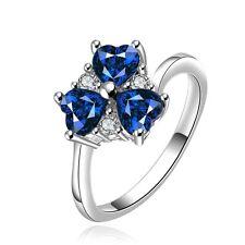 Sapphire Blue clover medium women engagement ring diameter 17.5 mm size O FR195