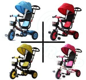 100% De Qualité All Road 4 En 1 Tricycle - Bleu Rouge Rose Jaune - Pousse Poignée Pédale Enfants Apparence Brillante Et Translucide