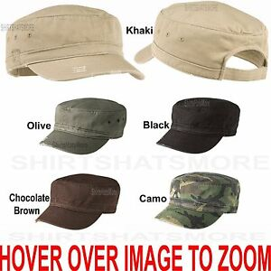 Image is loading Mens-Womens-Cadet-Cap-Distressed-Military-Style-Cotton- a94805cb272