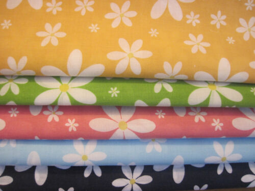 Metres Fat Quarters Spring Time Daisy Polycotton Fabric Craft Dressmaking Sewing