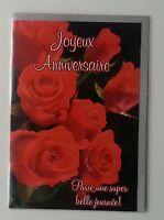 Carte Joyeux Anniversaire Modele Rose Rouge + 1 Enveloppe Grise Incluse, Neuf
