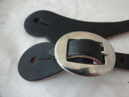 Black Harness Leather Spur Straps Women/'s Western Horse Stainless Steel Buckles