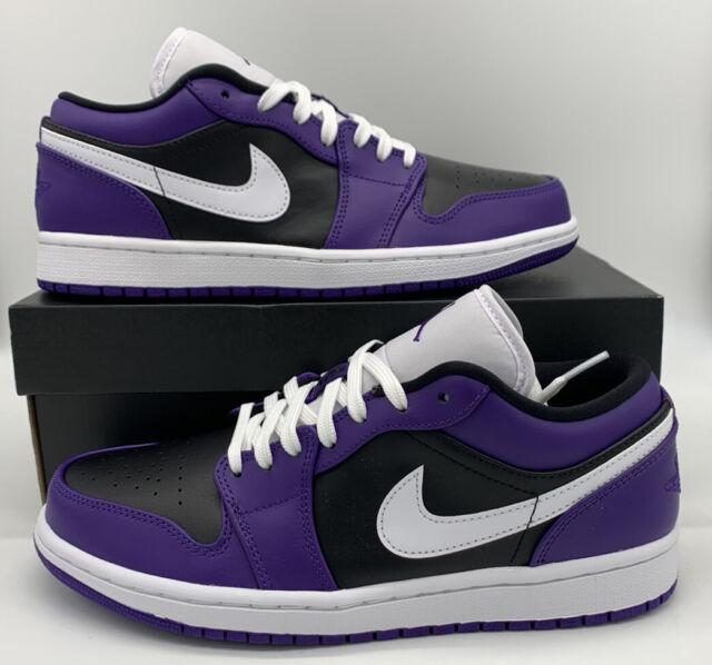 Nike Air Jordan 1 Low Court Purple White Black 553558-501 Retro Shoes Mens  Size