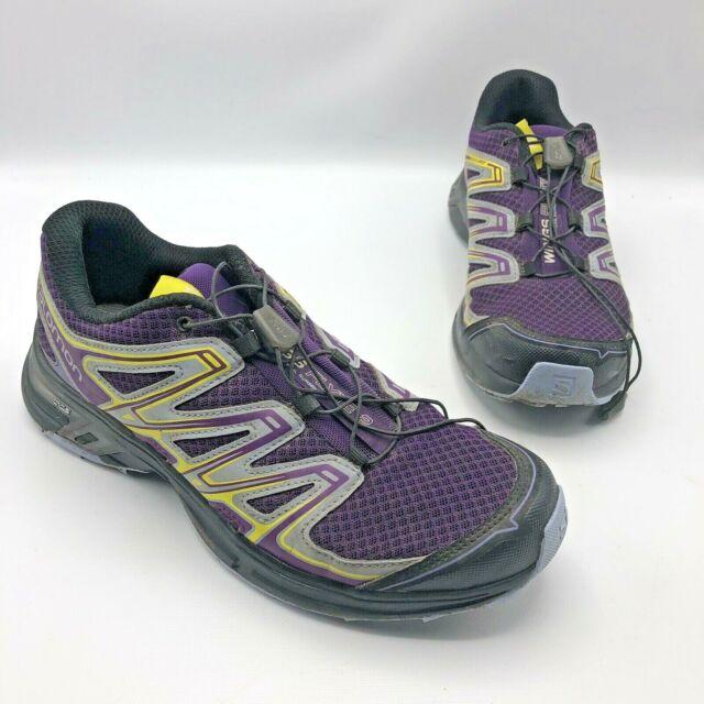 Salomon Wings Flyte 2 Women Purple Yellow Gray Trail Running Shoe Size 9