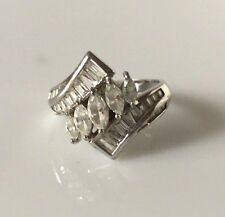 STERLING SILVER MARQUISE AND CHANNEL SET BAGUETTE CZ COCKTAIL RING -  SIZE 10