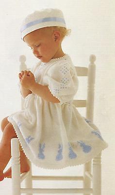 "Baby Girls Bunny motif Dress Knitting Pattern Picot edge 20-24"" DK 209"