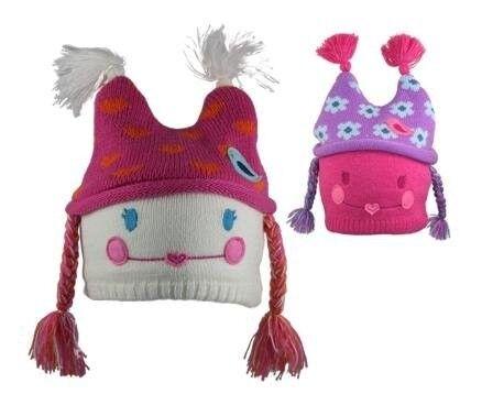 Novelty Winter Hat Pink Purple Girls Kids Dolly Design Hats