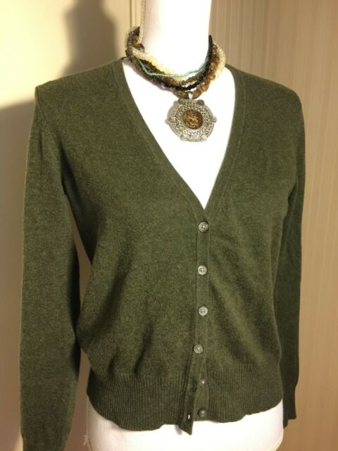 Cardigan Sweater Top EDDIE BAUER XS Army Green Long Sleeve V-Neck Cotton Blend