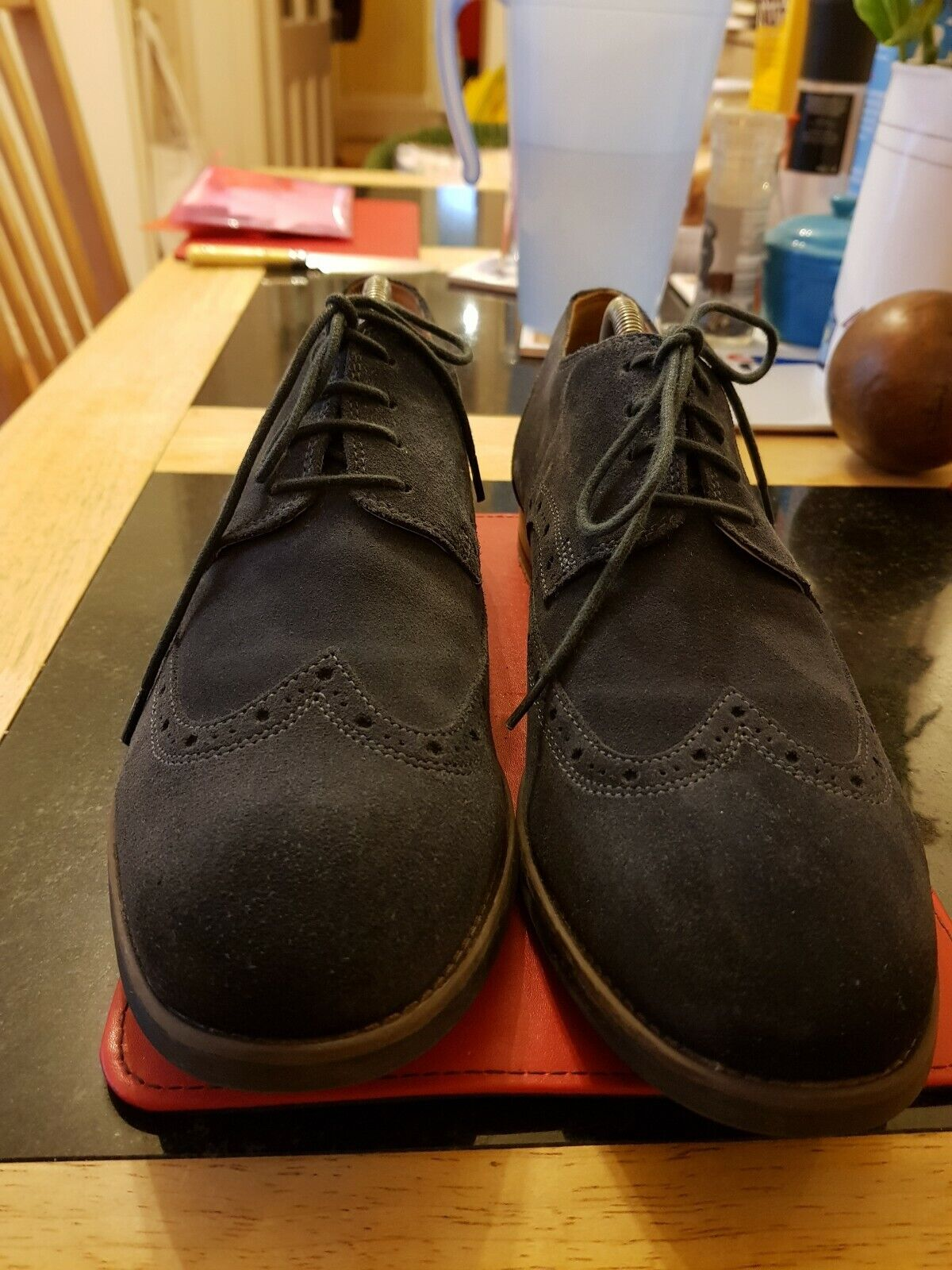TOP QUALITY BLUE SUEDE BROGUES by CLARKS. SIZE 10