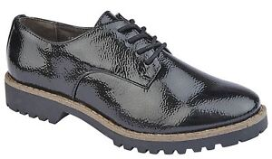 Expressif Femme Chaussures à Lacets Oxford Hi Shine Casual Smart Bureau Taille-afficher Le Titre D'origine
