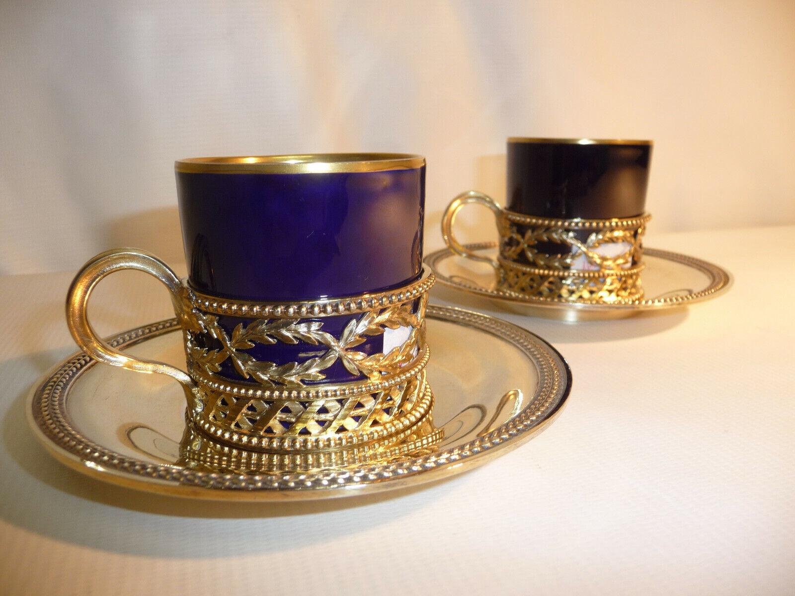 ODIOT Prévost Recipon 2 tasses et sous tasses thé café Vermeil et porcelaine XIX