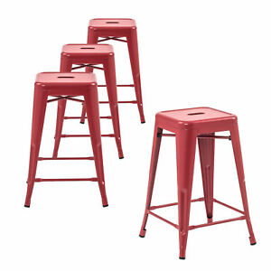 Details About Set Of 4 Metal Bar Stools 24 Indoor Outdoor And Stackable Matte Red