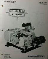Homelite Xl-pump Parts Manual 8pg Xls1 1/2-4 & 4a Trash Pond Water Fire Suppress