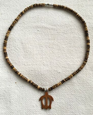 Hawaiian Sea Turtle Wood Pendant + Coconut Beads Necklace Hawaii Handcrafted N