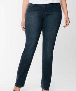 Lane-Bryant-14-Petite-Jeans-Denim-Distinctly-Bootcut-Stretch-Dark-Wash-AR09
