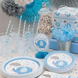 Baby Shower Boy Decoracion.Detalles De Azul Umbrellaphants Baby Shower Fiesta Provisiones Juegos Vajilla Decoraciones Chico Ver Titulo Original