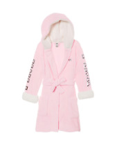 VICTORIAS SECRET PINK SHERPA LINED ROBE COZY GOLD SEQUINS XS//S M//L New Free Ship