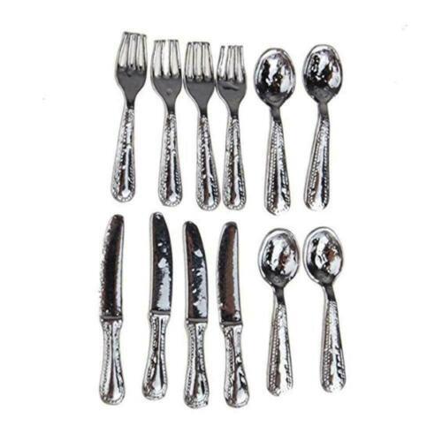 12pcs 1//12 Scale Dolls House Miniature Stainless Steel S Kit 1SET Tableware B8F8