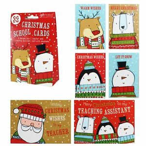 Christmas Cards For Teachers.Details About Christmas Cards School Pack Of 32 Kids Teacher Red Pack