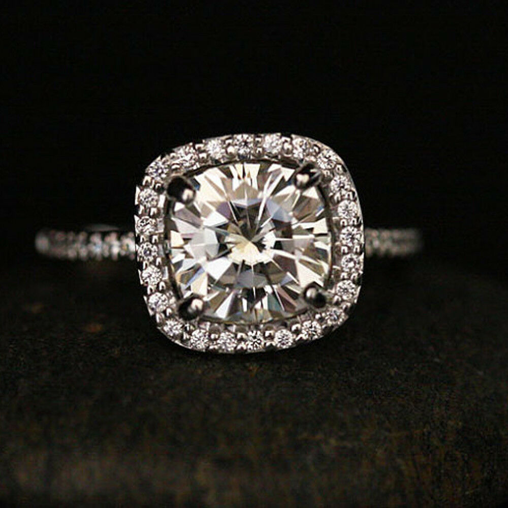 2.30 Carat Cushion Diamond Solitaire Wedding Ring 14K White gold Ring Size 5 6 7