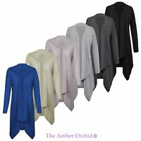 New Ladies Womens Long Waterfall Cardigan Sleeve Boyfriend Top Plus Sizes