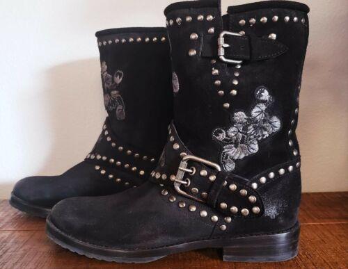 "Frye ""Natalie"" Studded Floral Engineer Boot Size"